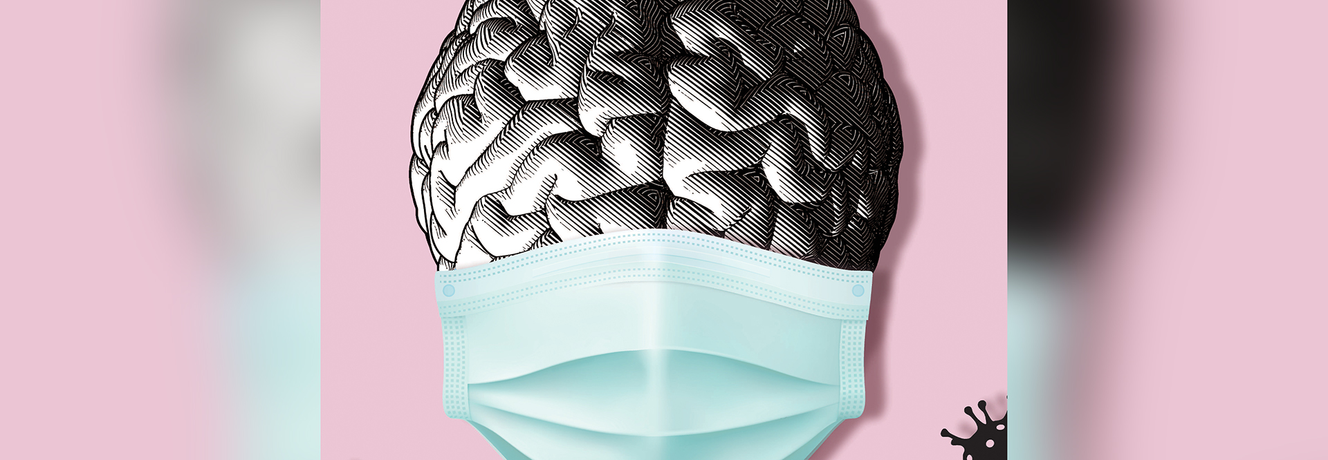 graphic illustrtion of a brain wearing a mask on a pink background