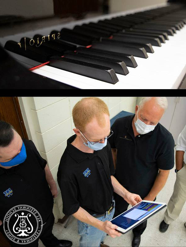 Picture of the Spirio keyboard along with three men looking at an ipad.