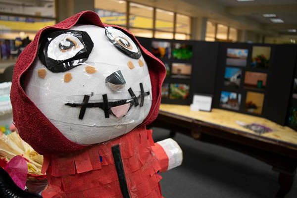 photo of pinata and other artwork entered into competition